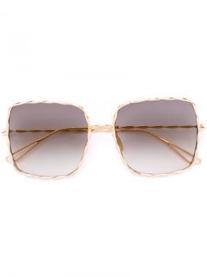 Солнцезащитные очки с массивной оправой Elie Saab. Цвет: металлический