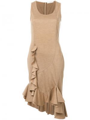 Платье миди с оборкой Givenchy. Цвет: коричневый