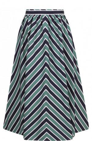 Пышная хлопковая юбка-миди в полоску Fendi. Цвет: зеленый