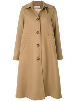 Длинное пальто со складками Veronique Branquinho. Цвет: телесный