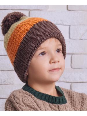 Шапка Logro-kids. Цвет: коричневый, бежевый, оранжевый