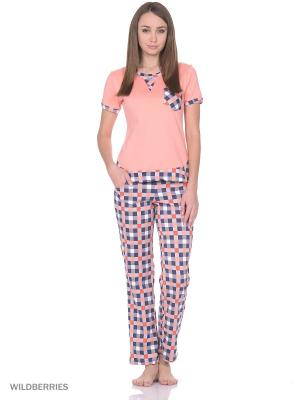 Пижама женская (футболка,брюки) MARSOFINA. Цвет: персиковый