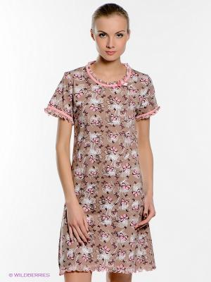 Ночная сорочка Vienetta Secret. Цвет: коричневый
