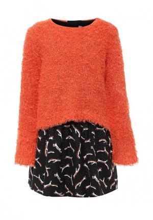 Комплект джемпер и платье Catimini. Цвет: разноцветный