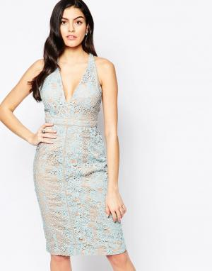 Forever Unique Кружевное платье миди с глубоким декольте Inca. Цвет: синий