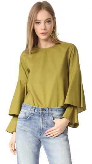 Блуза с каскадной отделкой на рукавах Style Mafia. Цвет: зеленый