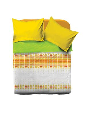 Комплект постельного белья евро Браво Колорс рис.4067-2 Оранж BRAVO!. Цвет: белый, оранжевый