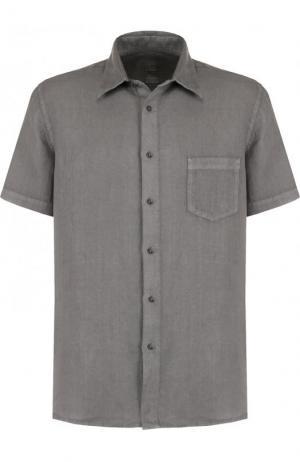 Льняная рубашка с короткими рукавами 120% Lino. Цвет: серый