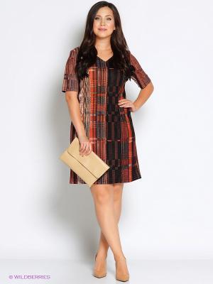 Платье Битис. Цвет: темно-коричневый, рыжий