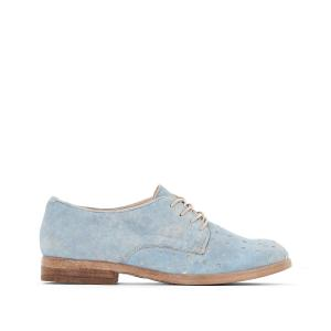 Ботинки-дерби из перфорированной кожи Nicole MJUS. Цвет: небесно-голубой