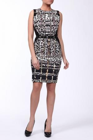 Платье с ремнем VDP. Цвет: черно-бежевый