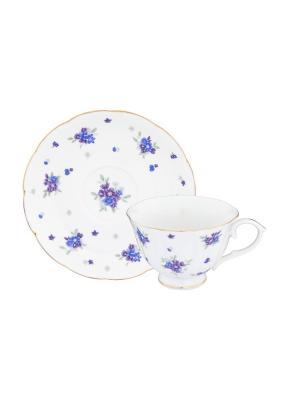 Чайная пара Сиреневый туман Elan Gallery. Цвет: белый, голубой, сиреневый