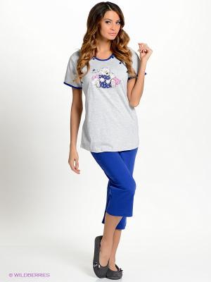 Комплект одежды Vienetta Secret. Цвет: серый меланж, индиго