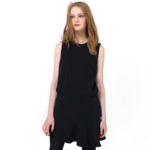 Платье без рукавов с расклешенным низом и декорированным воротником COLOR BLOCK. Цвет: черный