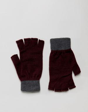 ASOS Бордовые перчатки без пальцев с серыми манжетами. Цвет: фиолетовый