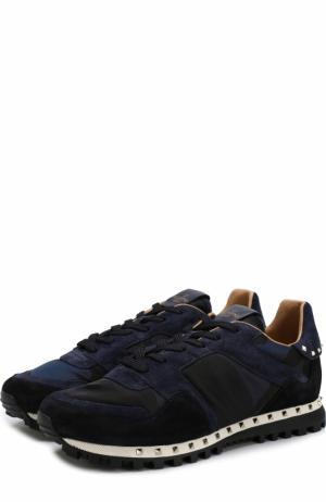 Текстильные кроссовки  Garavani Rockrunner с замшевой отделкой Valentino. Цвет: темно-синий