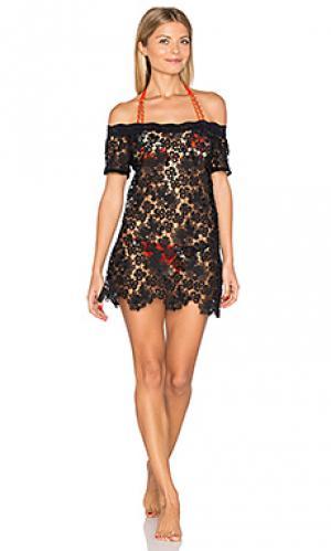 Платье из итальянских кружев с открытыми плечами Sauvage. Цвет: черный