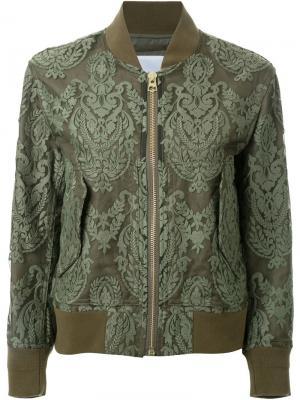 Кружевная куртка-бомбер Cityshop. Цвет: зелёный