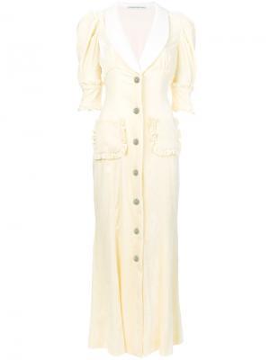 Расклешенное платье на пуговицах Alessandra Rich. Цвет: телесный