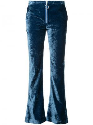 Расклешенные бархатные брюки Off-White. Цвет: синий
