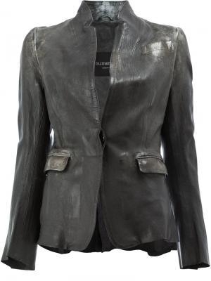 Приталенная куртка с деформированным эффектом Numero 10. Цвет: чёрный