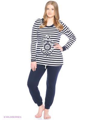 Комплект домашней одежды (футболка, брюки) HomeLike. Цвет: темно-синий