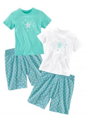 Пижама с шортами, 2 штуки PETITE FLEUR. Цвет: белый+мятный