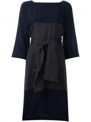 Шерстяное платье с поясом Daniela Gregis. Цвет: синий