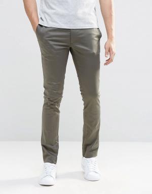 ASOS Супероблегающие брюки из хлопкового сатина цвета хаки. Цвет: зеленый