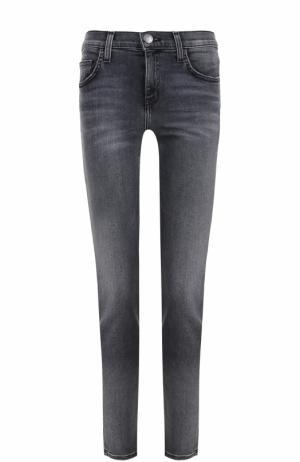 Укороченные джинсы-скинни с потертостями Current/Elliott. Цвет: серый