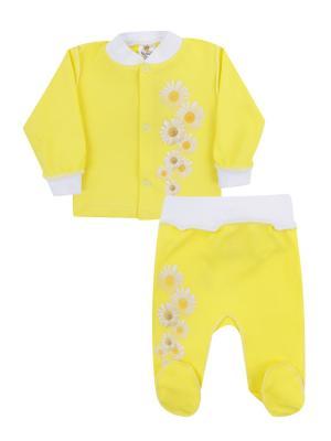 Набор одежды: кофточка, ползунки Коллекция Ромашки КОТМАРКОТ. Цвет: желтый