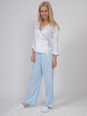Пижама (кофта с запахом длинный рукав+штаны длинные) белый/голубой размер XL La Pastel. Цвет: голубой