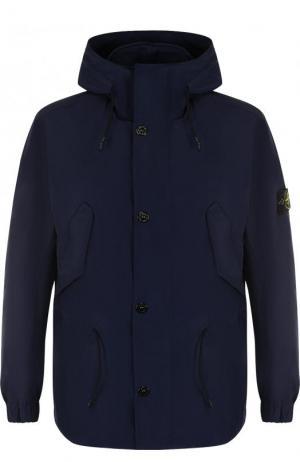 Куртка на молнии с капюшоном Stone Island. Цвет: синий