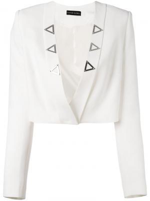 Укороченный открытый пиджак David Koma. Цвет: белый