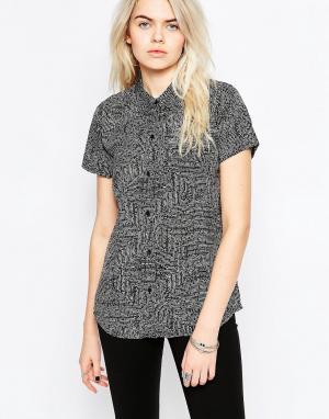 RVCA Рубашка с короткими рукавами и принтом. Цвет: синий