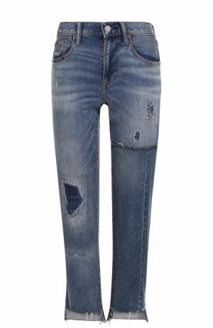 Укороченные джинсы прямого кроя с потертостями Polo Ralph Lauren. Цвет: синий