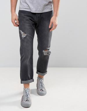 Zeffer Черные выбеленные расклешенные джинсы с рваной отделкой. Цвет: черный