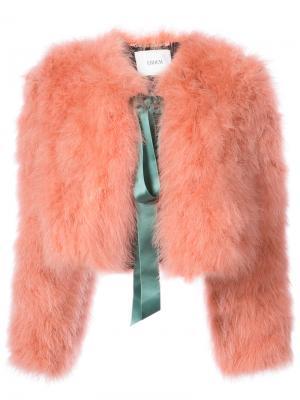 Укороченная куртка из искусственного меха Erdem. Цвет: розовый и фиолетовый