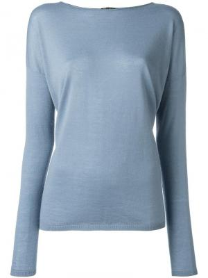 Кашемировый джемпер с приспущенными плечами Iris Von Arnim. Цвет: синий