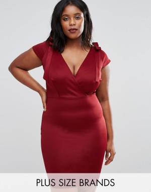 Club L Платье миди с завязками на плечах Plus. Цвет: красный
