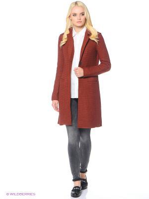 Пальто ONLY. Цвет: бордовый, серый