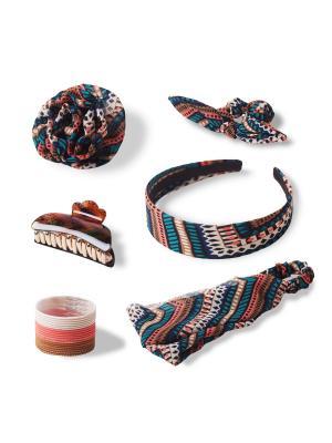Комплект аксессуаров для волос CHARMY ETHNIC ESLI. Цвет: бледно-розовый, коралловый, коричневый