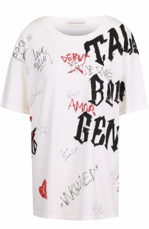 Хлопковая футболка с контрастным принтом Faith Connexion. Цвет: белый