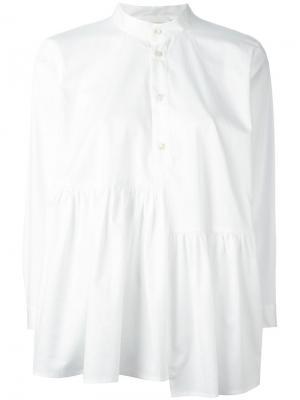 Блузка с асимметричными оборками Peter Jensen. Цвет: белый