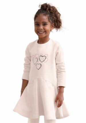 Платье KIDOKI. Цвет: розовый, серый меланжевый в полоску
