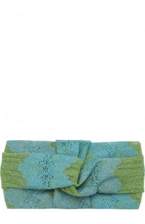Вязаная повязка из вискозы Missoni. Цвет: голубой