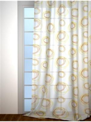 Тюль с рисунком IQ-KOMFORT. Цвет: прозрачный, золотистый, оранжевый