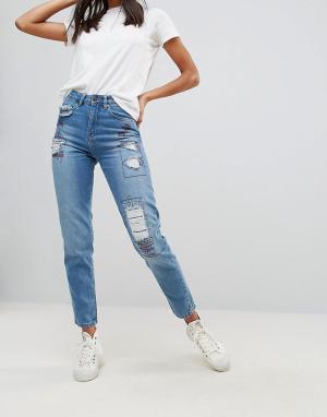 Waven Джинсы в винтажном стиле с нашивками. Цвет: синий