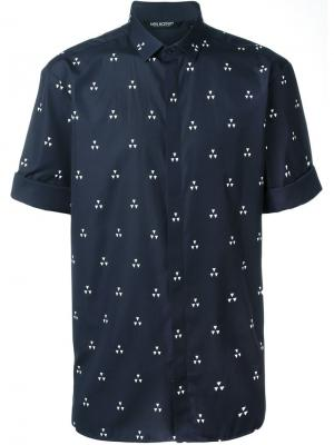 Рубашка с короткими рукавами и принтом Neil Barrett. Цвет: синий