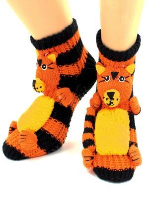 Носки-тапочки HOBBY LINE. Цвет: черный, горчичный, оранжевый